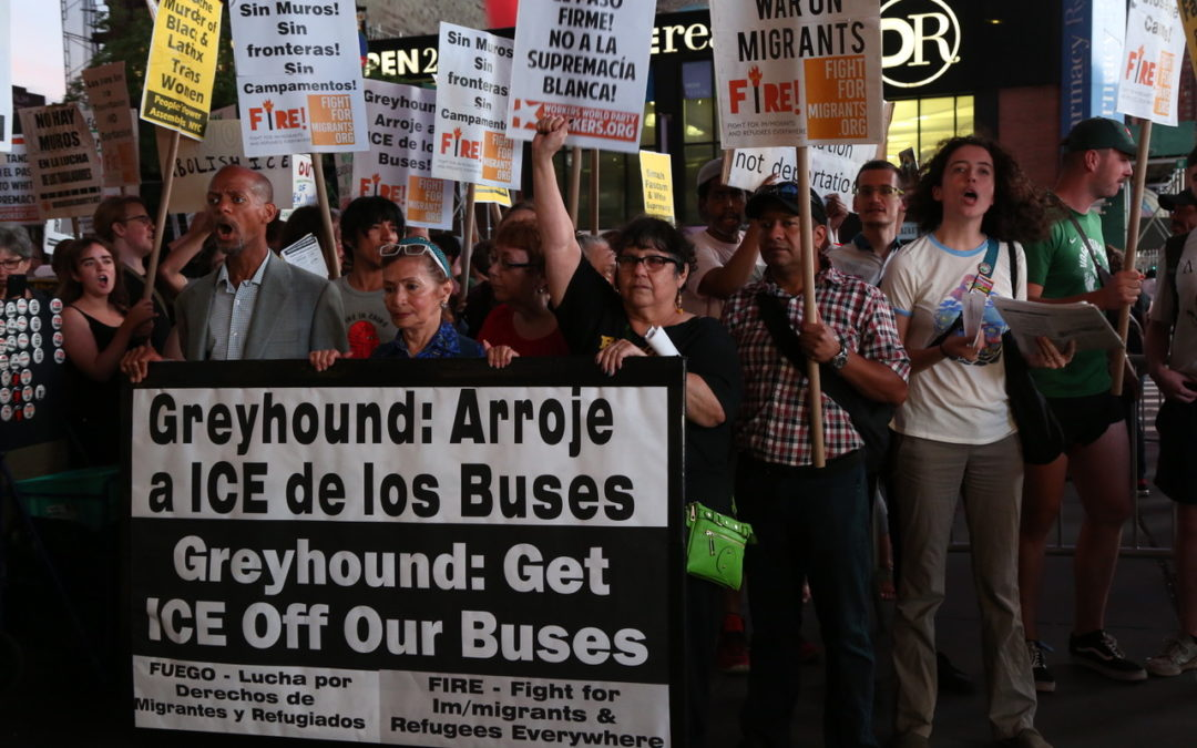 Protesters tell Greyhound, ICE off our buses!